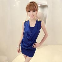 2013 summer women's sexy deep V-neck paillette epaulette elegant one-piece dress