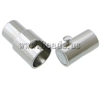 Free shipping!!!Brass Magnetic Clasp,Famous, platinum color plated, nickel, lead & cadmium free, 6x15mm, Hole:Approx 4mm