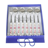 Free shipping Gift box cutlery spoon bone china fork 8 piece set stainless steel tableware set