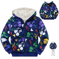 Free Shipping 6pcs/lot wholesale children's sweatshirt navy blue Mickey Mouse hoodies Thick fleece zipper outerwear with hood