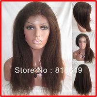 AAAAA 2013 New Style 22''-#2 Italian Yaki straight-Cheaper Indian Human Hair Lace Front Wig-Free Shipping