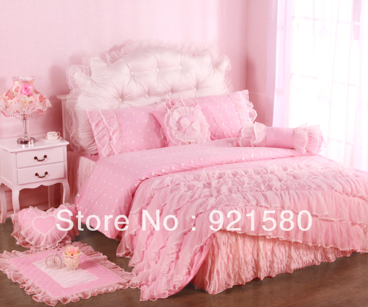 Free shipping!NEW 100% cotton girl bedding set/pink lace