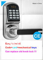 Free Shipping digital door locks with card and mechanical keys for office and home door
