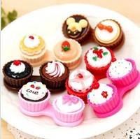 Free ship!12set!Cake shape colored contact lenses box / beauty pupil box / glasses companion box / nursing box