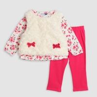 2013 Autumn/Spring Graceful Baby Girls Fur Vest+Floral Print Shirt+Pants 3pcs Girls Suit Children Clothing Set