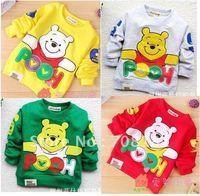 Fress shipping 4 pieces/lot Children clothing cute baby T- shirt Cartoon bear long sleeve shirts baby clothes