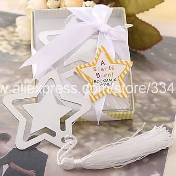 "25pcs/lot bulk sell ""A Star Is Born"" Metal Bookmark Favor With White Silk Tassel  wedding favor baby shower favor"