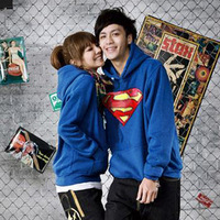 freeshipping autumn new Lovers/couples men/Women sweatshirt sportswear superman hoody outerwear hoodies plus size M to XXXXL/4XL