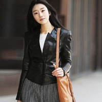 free shipping 2013 autumn outerwear short design slim stand collar PU small leather clothing female jacket 6010