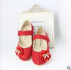 Child 2013 female single shoes female child lace flower princess leather metal baby shoes(China (Mainland))