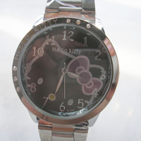 wholesale stainless steel women's Hello kitty Lovely watch.Free shipping.Hot 10pcs /lot