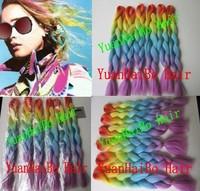 Stocks! 20inch 6packs/lots Rainbow Color jumbo braid 100 synthetic braiding hair Free shipping