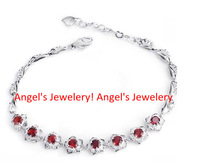 Natural Garnet with 925 Silver Plated 18k White Gold Chain Bracelet ,Promotion Chain Bracelet Jewelery