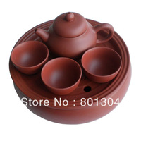 Sale promotion! Purple Clay Travel Teaset Portable Travel Kungfu Tea Set 1tea tray 1teapot 3cups