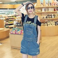 2013jun summer Women plus size loose wearing white retro finishing kangaroo pocket suspenders one-piece dress