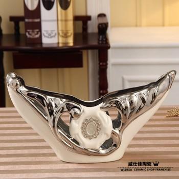 New arrival home accessories luxury simple european ceramics flower diamond coffee table decoration dining table vase