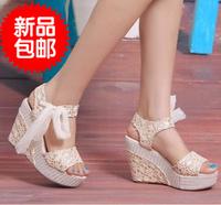 2013 new sandals princess summer open toe platform wedges platform high-heeled platform shoes color block decoration sandals