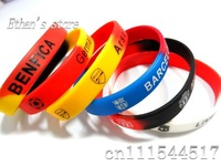 Free Shipping Men's National Soccer Wristband Silicone Bracelets  Lots  Mix color