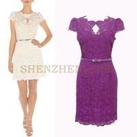Ol elegant short-sleeve slim embroidered lace one-piece dress women's