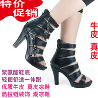 Short in size cool boots cowhide genuine leather cool boots gladiator sandals high one piece high-heeled sandals