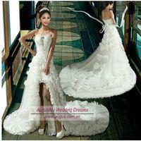 AWB3075 New Sexy Bow Decoration Short Front Long Back Train Wedding Dress
