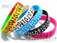 Free Shipping Music Notes Wristband Silicone  Bracelets  for party  Lots  Mix color