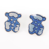 Wholesale\Retail! 14mm*12mm 2g Fashion Stainless Steel Blue Little Bear Stud Earrings For Women/Girl, Lowest Price Best Quality