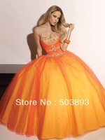 Free shipping 2014 new arrival h l dress orange quinceanera dress strapless sequins  ball gowns sweetheart  princess dress