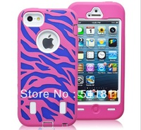 Colorful Hybird PC +Silicone Pink ,Purple Combo Zebra Case Cover for iPhone 5, 100pcs/lot free shipping by DHL