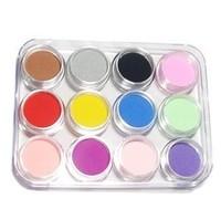 Nail Acrylic Powder For 3d Nail Art Mold Coloured False Nails Tips 12pcs/lot