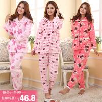 hot sell High quality turn-down collar coral fleece sleepwear female set long-sleeve winter casual home wear