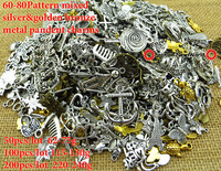 60-80pattern mixed 50ps silver Alloy Findings,charm pendants,Antiqued style bronze tone  jewelry fit