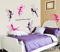 6 Flower Angel Fairy Cute Art Wall Stickers Decal Room Kids Girl Nursery Decor