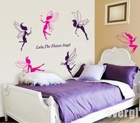 Hot Sale  6 Flower Angel Fairy Cute Art Wall Stickers Decal Room Kids Girl Nursery Decor