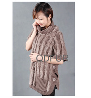 QD27878 Women's Fashion Natural Knitted Vertical Bar Rabbit Fur Wraps Female charm Sweater Pocket Shawls Lady Swing