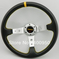 2013 New: 350MM MOMO Steering Wheel PVC Leather Carbon Fiber Looking Steering Wheel MOMO Racing Silver Frame