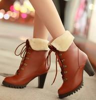 Free shipping warm fur fashion boots for women shoes woman 2013 ladies high heels winter big size Eur34-43 pumps CSXX35006