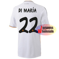 Real Madrid #22 DI MARIA Jersey 2013-2014 White Home Soccer shirts Custom Sports Suit Real Madrid DI MARIA Jersey for Men