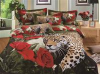 Leopard Animal bedding set oil painting bed linens sheets cotton quilt/duvet covers 4pcs Queen/Full comforter