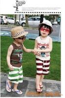 Children's clothing 2013 child set male child summer 100% cotton set children top trousers twinset