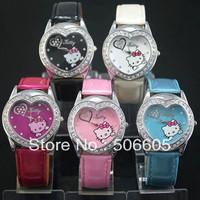 Hello Kitty watch heart-shaped fashion students KT children watches Hello Kitty watches 30pcs/lot