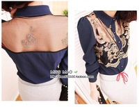 2013 lady sexy lace crochet transparent gauze backless turn down collar long-sleeve chiffon shirt sexy floral pattern blouse 001