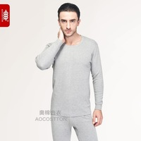 100% cotton long johns long johns set male 100% cotton o-neck cotton thin sweater cotton spring and autumn basic underwear