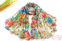Hot sale, 13 colors, classic pattern, 100% viscose, women's new countryside style floral dyeing silk cotton long beach scarf