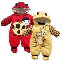 Retail 1pcs free shipping top quality! 2013 hot selling baby warm rompers in winter boy\girl cotton rompers kids clothing