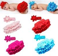 Fashion Kid Child Baby Girl Infant Ruffle Skirt Pants+Headband Bloomers Nappy Costume 4 color