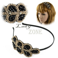 12pcs/lot Fashion Lovely Princess Elegant Stylish Crystal Beaded Headband Hair Band Hairpin 10389