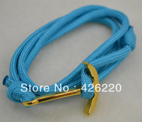 free shipping high quality blue parachute cord golden anchor bracelet  jewelry