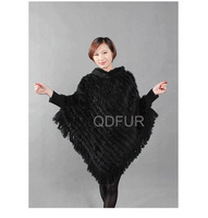 QD27888 Women's 100% Genuine Natural Knitted Rabbit Fur Pullovers Hooded Sweater Shawls Lady Wraps batwing sleeve blouse