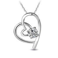2012 925 pure silver love rhinestone   beautiful girls birthday   gifts crystal point pendant